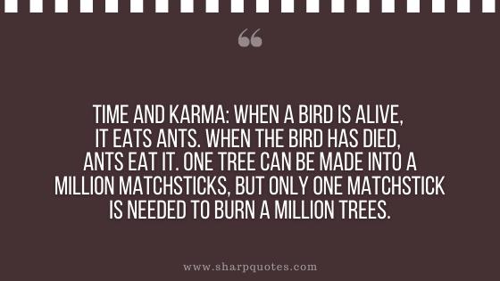 karma quotes time bird ants million tree
