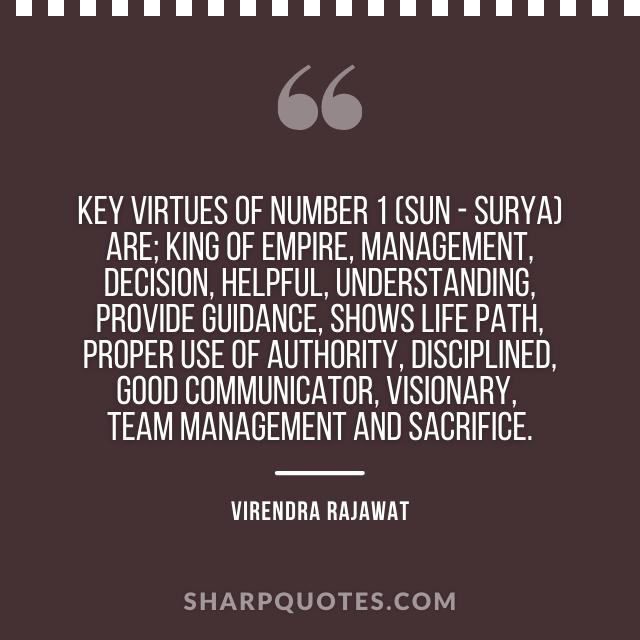 virtues number 1 sun surya numerology virendra rajawat